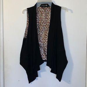 Black & Leopard Vest/Cover up